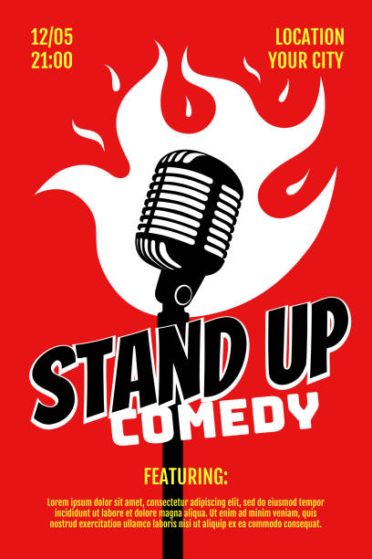 stand up comedy night live show a3 a4 poster design template. retro microphone with fire on red background. hot jokes roast concept flyer. vector open mic illustration - comedian stock illustrations