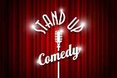 Stand up comedy night live show open mic on empty theatre stage. Vintage microphone against red curtain backdrop. Retro vector art image illustration