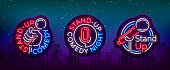 Stand Up Comedy Show is a collection of neon signage. Collection of neon s, a symbol, a bright light banner, a neon-style poster, bright night-time advertising Stand up the show. Vector.