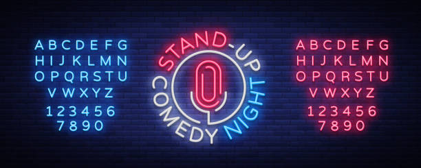 stand up comedy show is a neon sign. neon , bright luminous banner, neon poster, bright night-time advertisement. stand up show. invitation to the comedy show. vector. editing text neon sign - comedian stock illustrations