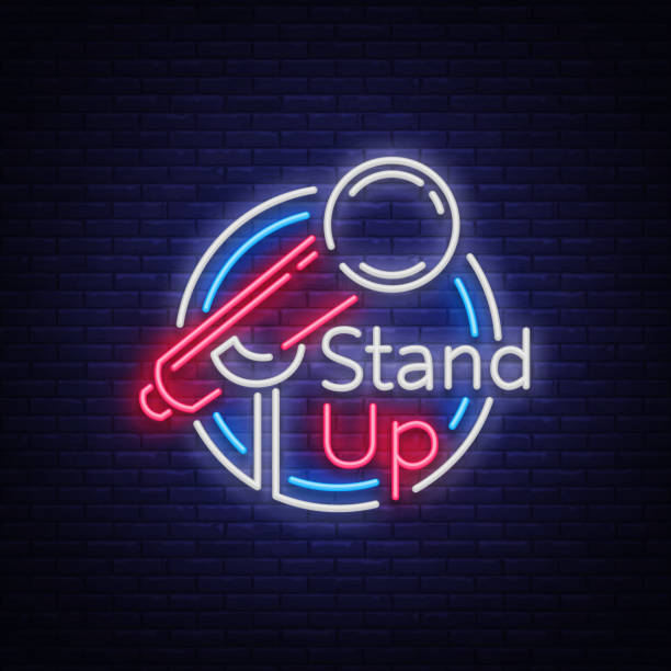 stand up comedy show is a neon sign. neon symbol, symbol, bright luminous banner, neon-style poster, bright night-time advertisement. stand up show. invitation to the comedy show. vector - comedian stock illustrations