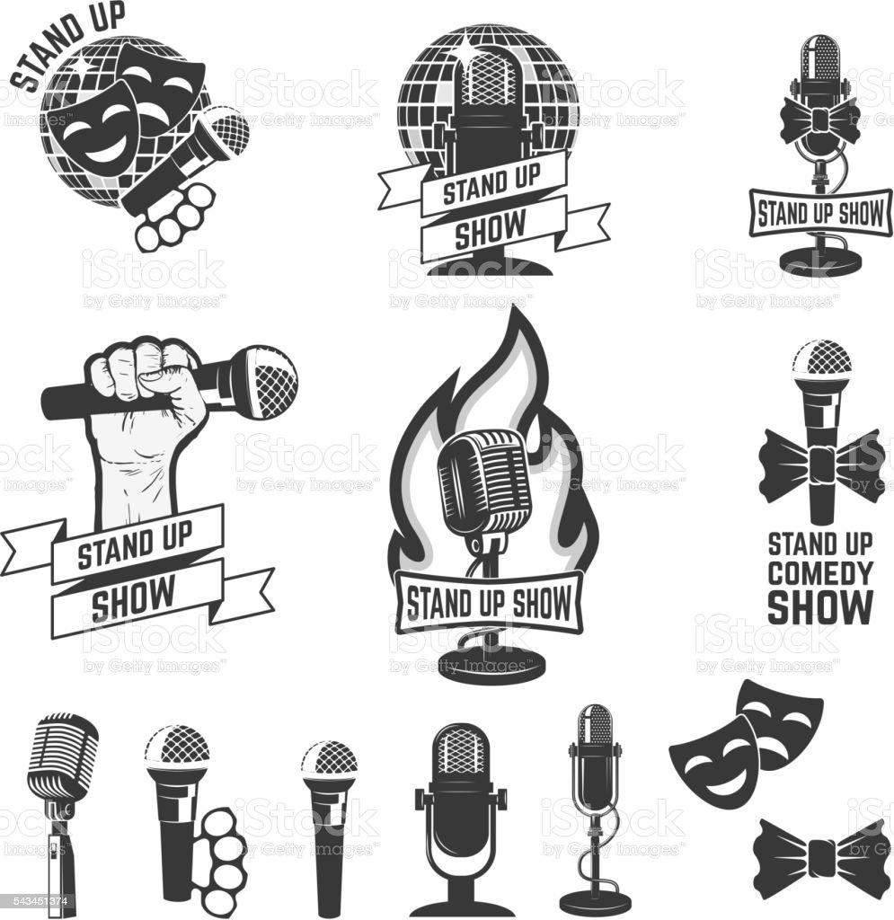 Stand up comedy show labels. Set of old style microphones. vector art illustration