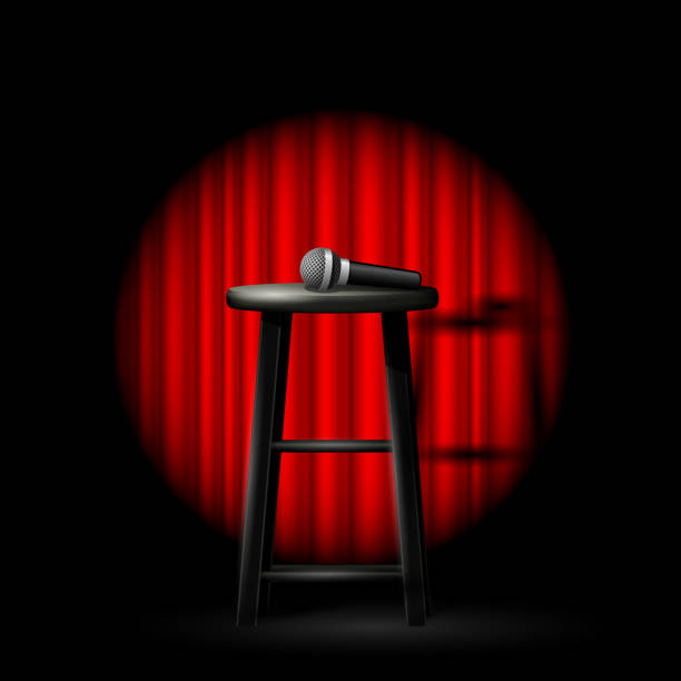 stand up comedy show - microphone and stool in ray of spotlight and drop-curtain - comedian stock illustrations