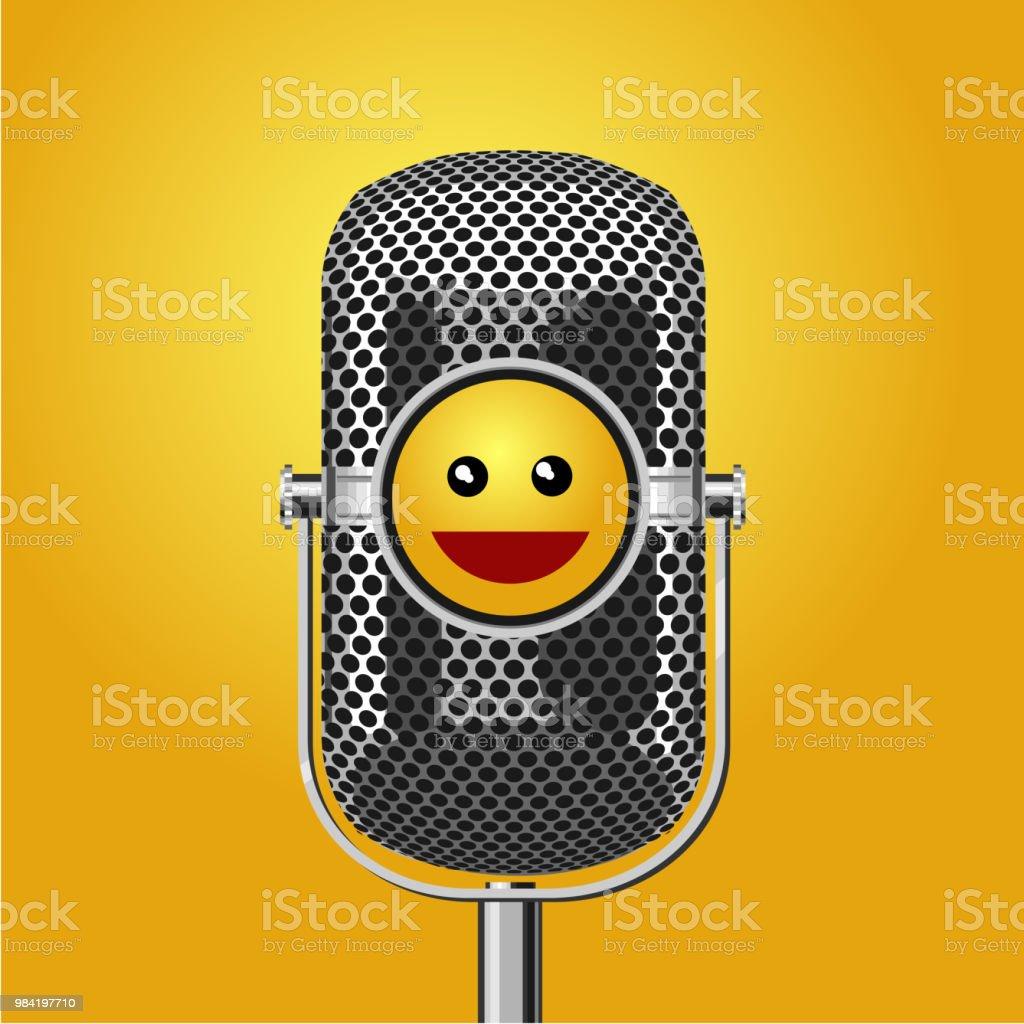Ilustración de Cartel Del Show De Comedia De Pie Con El Micrófono Y ...