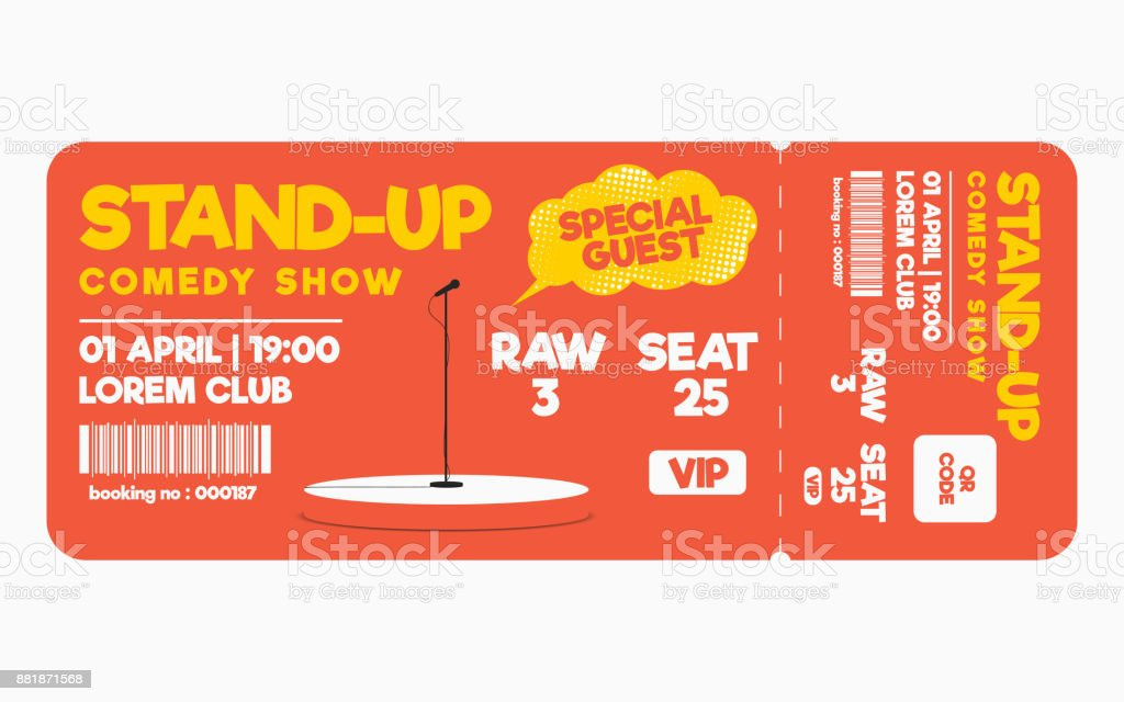 Stand Up Comedy Show Ticket Isolated On White Background Ticket ...