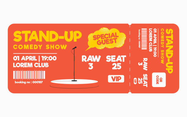 stand up comedy show ticket isolated on white background. ticket template for comedy show, performance - comedian stock illustrations