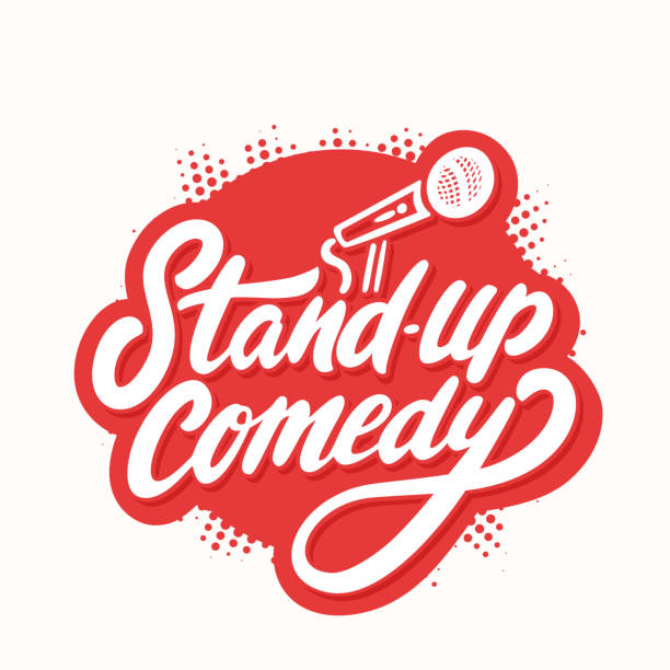 stand up comedy. vector lettering. - comedian stock illustrations