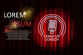 Stand up comedy with neon microphone sign and red curtain backdrop. Comedy night stand up show or karaoke party. Vector illustration EPS 10