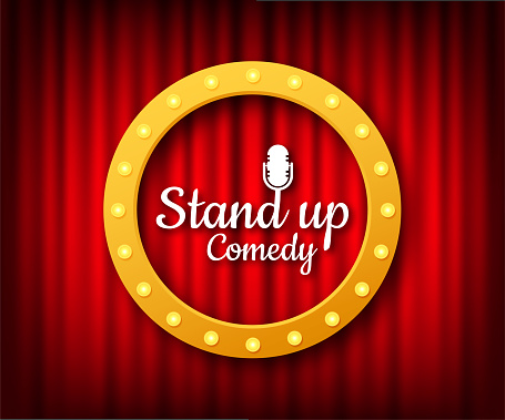 Stand up in flat style on red background. Retro microphone icon. Mic stand. Vector stock illustration.