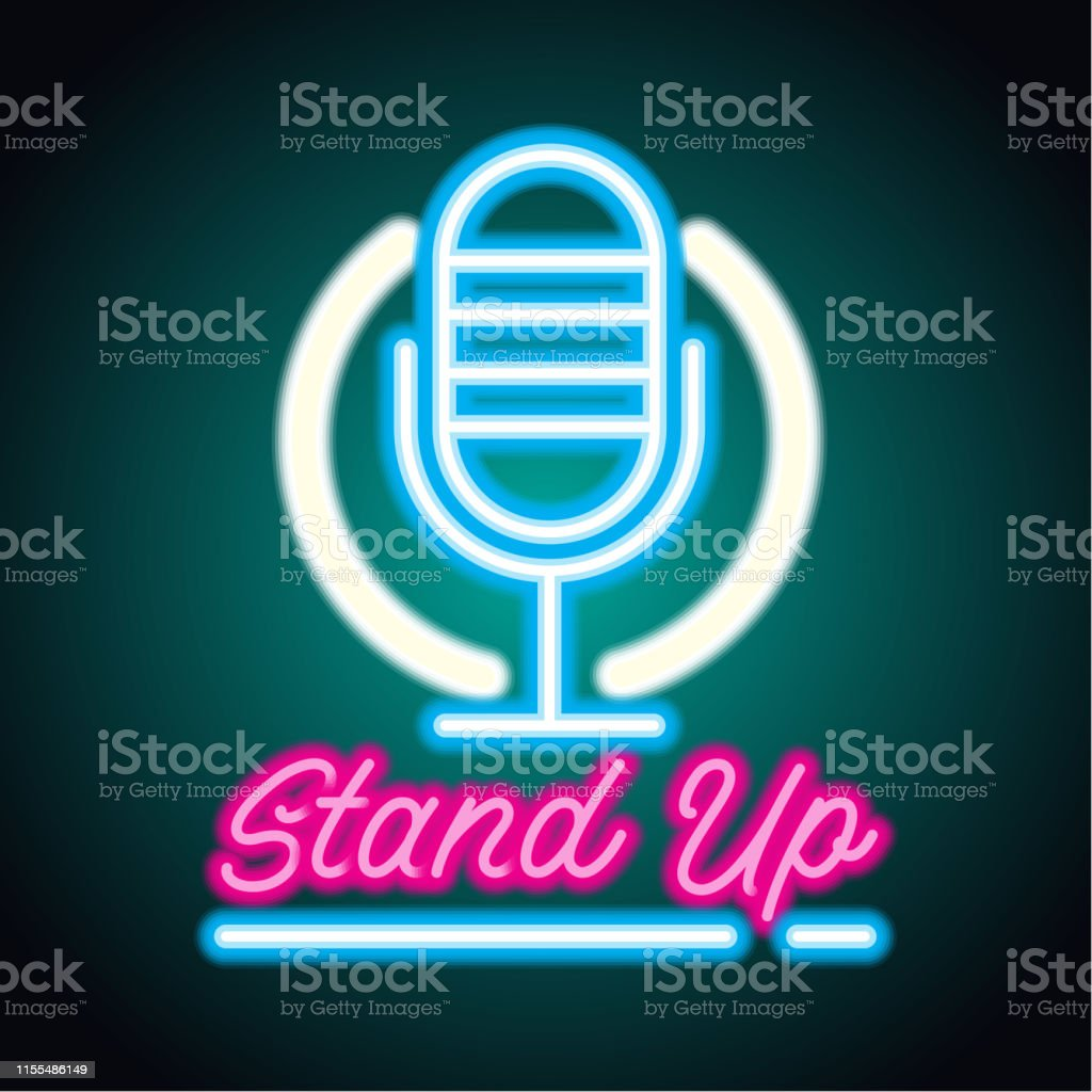 Stand Up Neon Sign For Stand Up Comedy Advertisement Vector