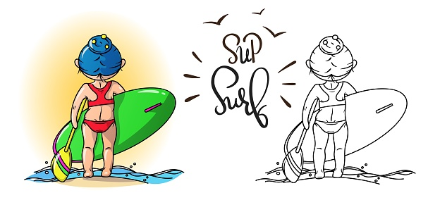 Stand Up Paddle Surfing illustration, a Girl with a board and a paddle, vector image