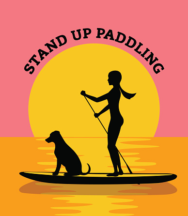 Stand up paddleboard at sunset vector illustration. woman and dog silhouette