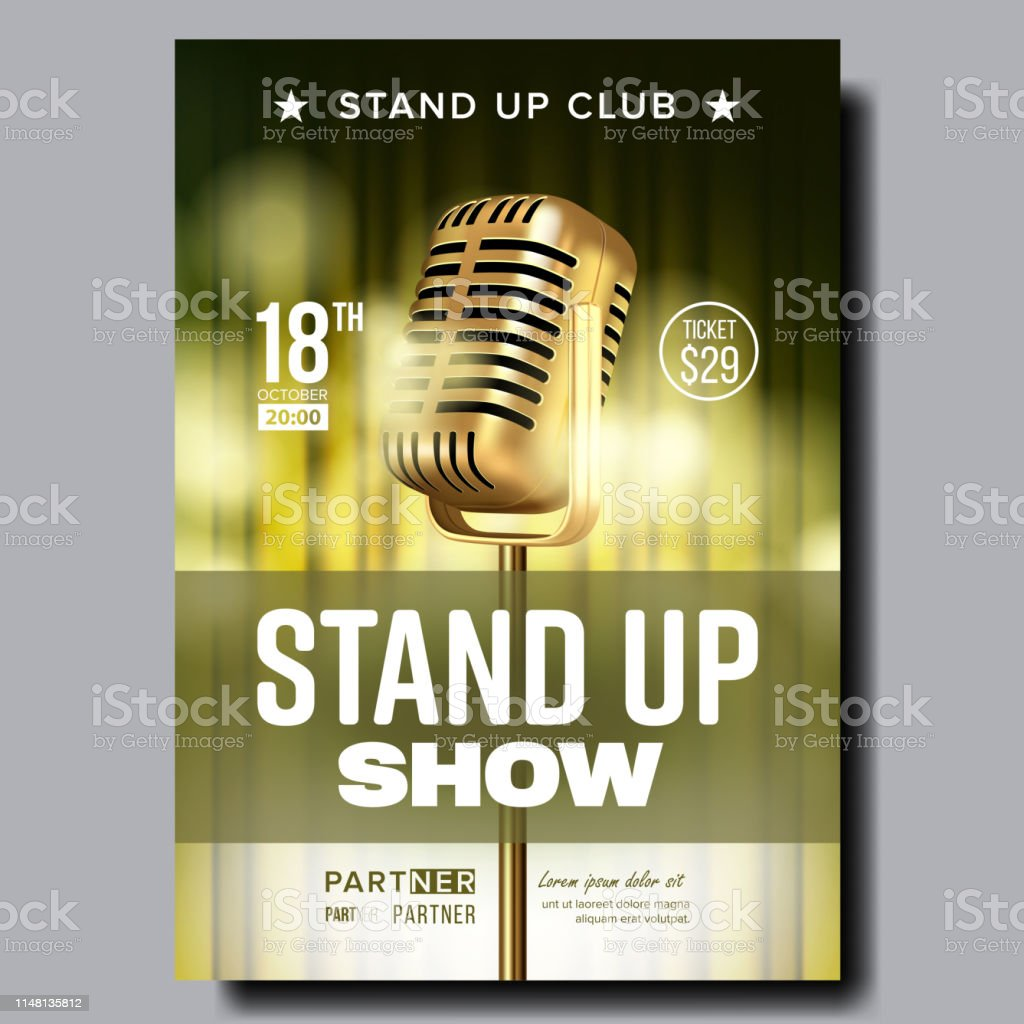 stand up show in club poster ankundigung vector lizenzfreies stand up show in club poster ankundigung