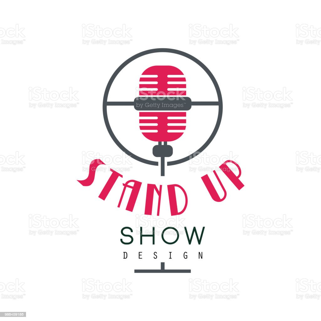 Ilustración de Mostrar Logotipo De Pie Comedia Club Signo Vector ...