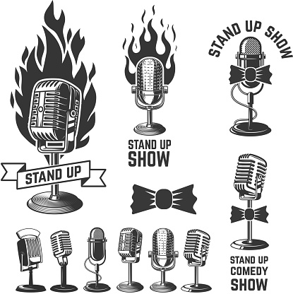 Stand up show. Set of emblems with retro microphones . Design element for label, sign, poster, t shirt. Vector illustration