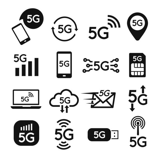 Standard 5g icon set for internet and phone vector art illustration