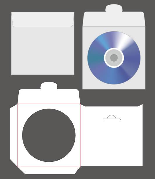 standard disc envelope mockup with dieline cut vector art illustration