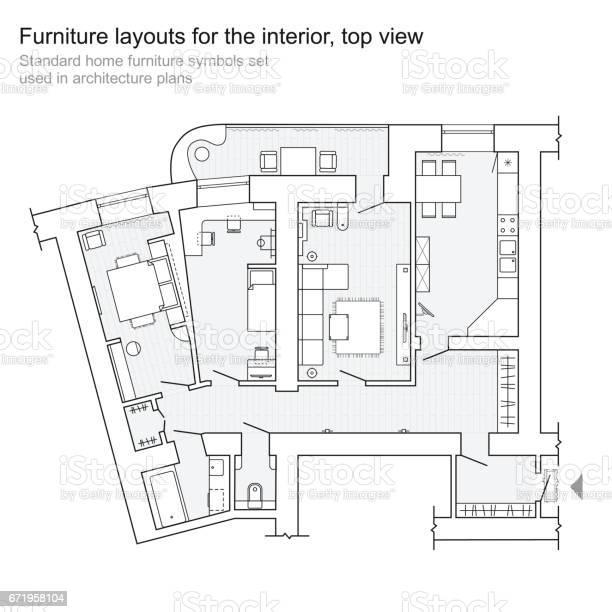 Meubles De Maison Standard Des Symboles Utilises Dans Les Plans Darchitecture Vecteurs Libres De Droits Et Plus D Images Vectorielles De Ameublement Istock