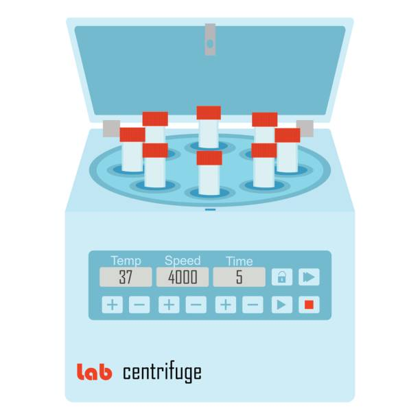 standard laboratory centrifuge Lab centrifuge with vacutainers - laboratory equipment for chemical and biological experiments centrifuge stock illustrations