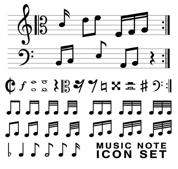 standard music notes symbol set vector eps10 - klucz wiolinowy stock illustrations