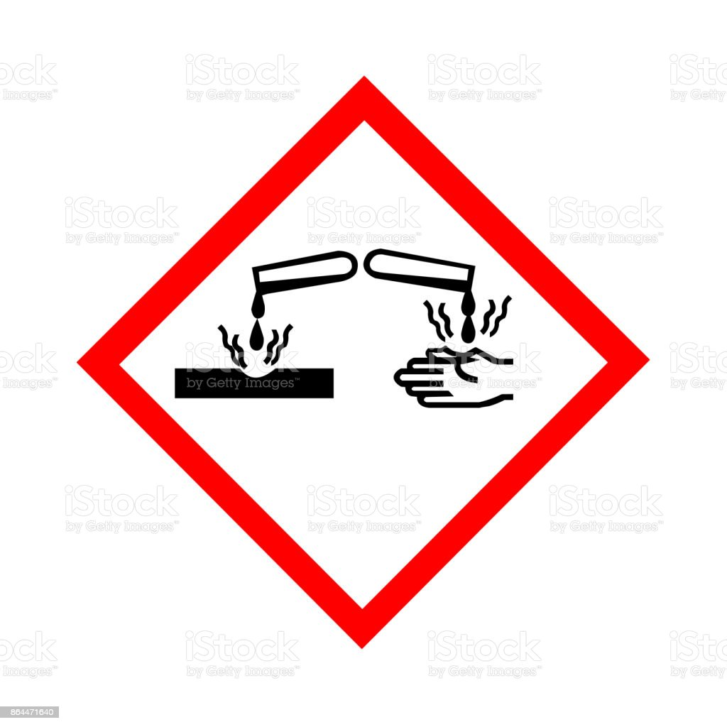 Standard Pictogam of Corrosive Symbol, Warning sign of Globally Harmonized System (GHS) vector art illustration