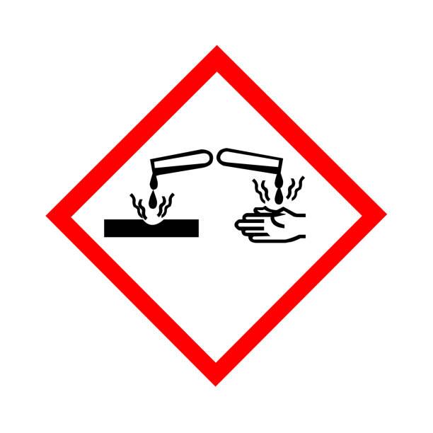 Standard Pictogam of Corrosive Symbol, Warning sign of Globally Harmonized System (GHS) Standard Pictogam of Corrosive Symbol, Warning sign of Globally Harmonized System (GHS) acid stock illustrations