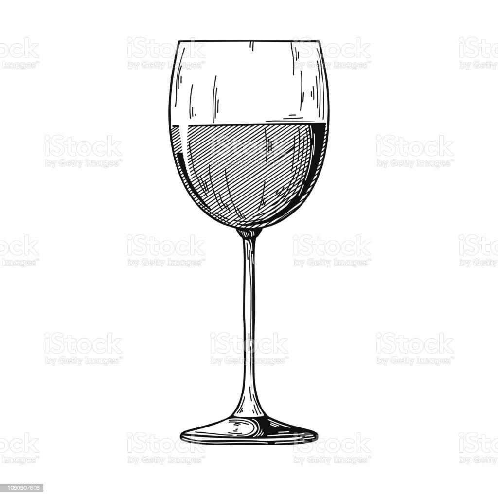 Verre À Vin Rouge Standard Illustration Vectorielle Sur Fond