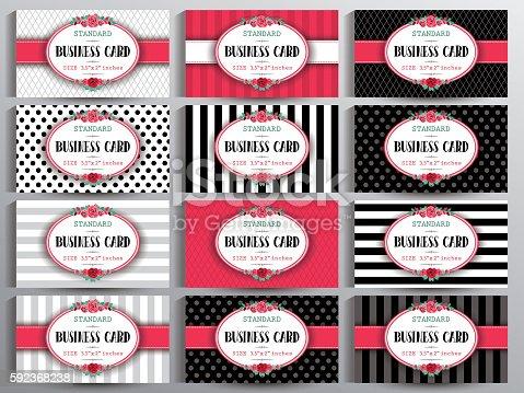 Standard US Business cards set. Vintage collection of twelve cards