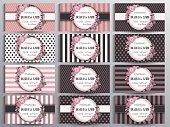 Standard US Business cards set. Vintage collection of twelve cards.