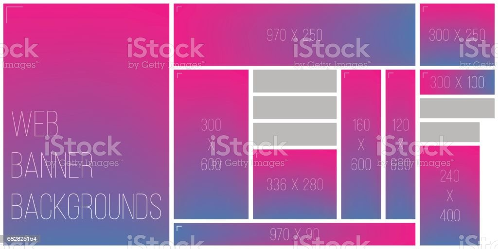 Standart Web Banner Size Color Bokeh Background Palette vector art illustration