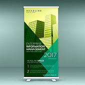 standee design in trendy color style roll up template