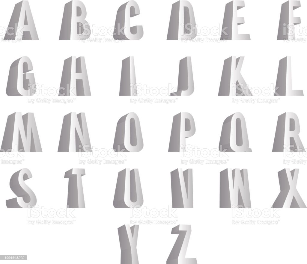 3D standing alphabet big letters font isolated design vector illustration - Illustration .