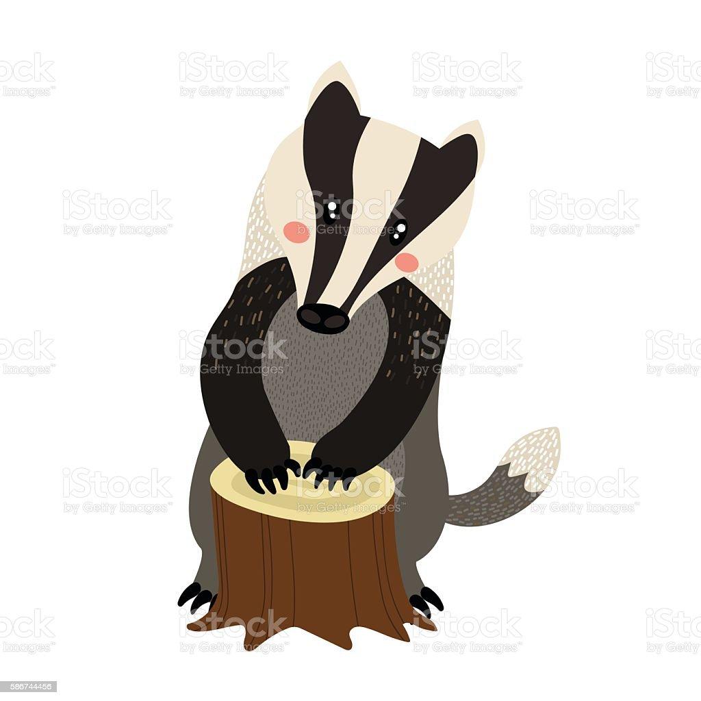 Standing Badger cartoon character vector illustration. vector art illustration
