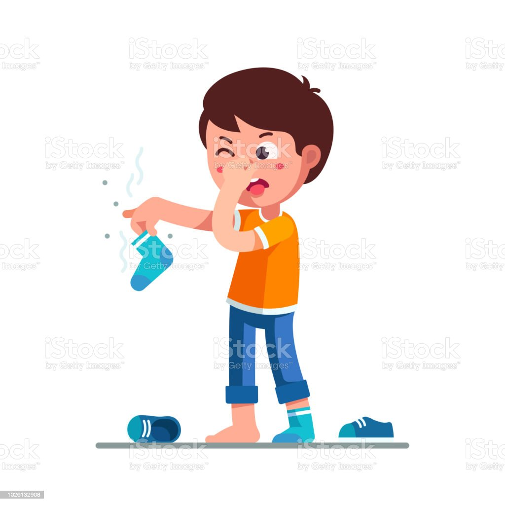 Standing boy kid holding dirty stinky sock in hand closing nose and taking out tongue in disgust face expression. Childhood hygiene flat vector clipart illustration. vector art illustration