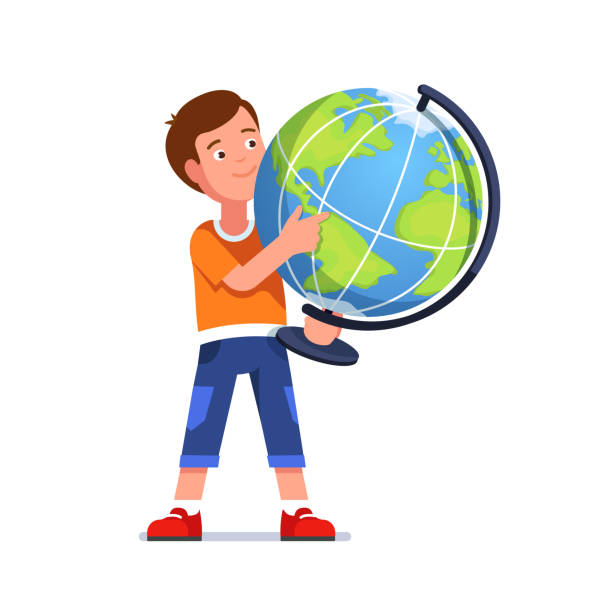 stehende junge auf der suche nach & index finger auf geografische lage auf der erdkugel zu zeigen. schule schüler lernen geographie lächelnd. flache isoliert vektor - kartographie stock-grafiken, -clipart, -cartoons und -symbole