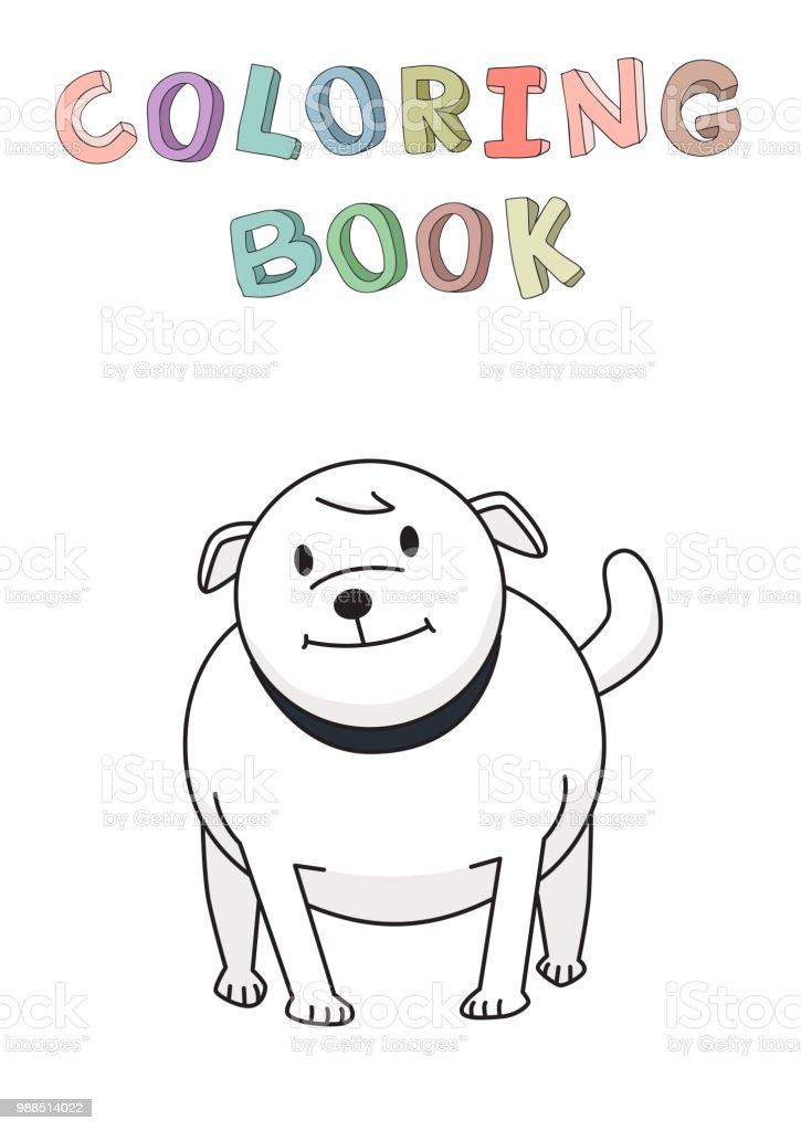 Bulldog Ayakta Komik Gülümseyen Köpek çizgi Film Karakteri Boyama