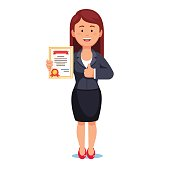 Standing business woman holding certificate
