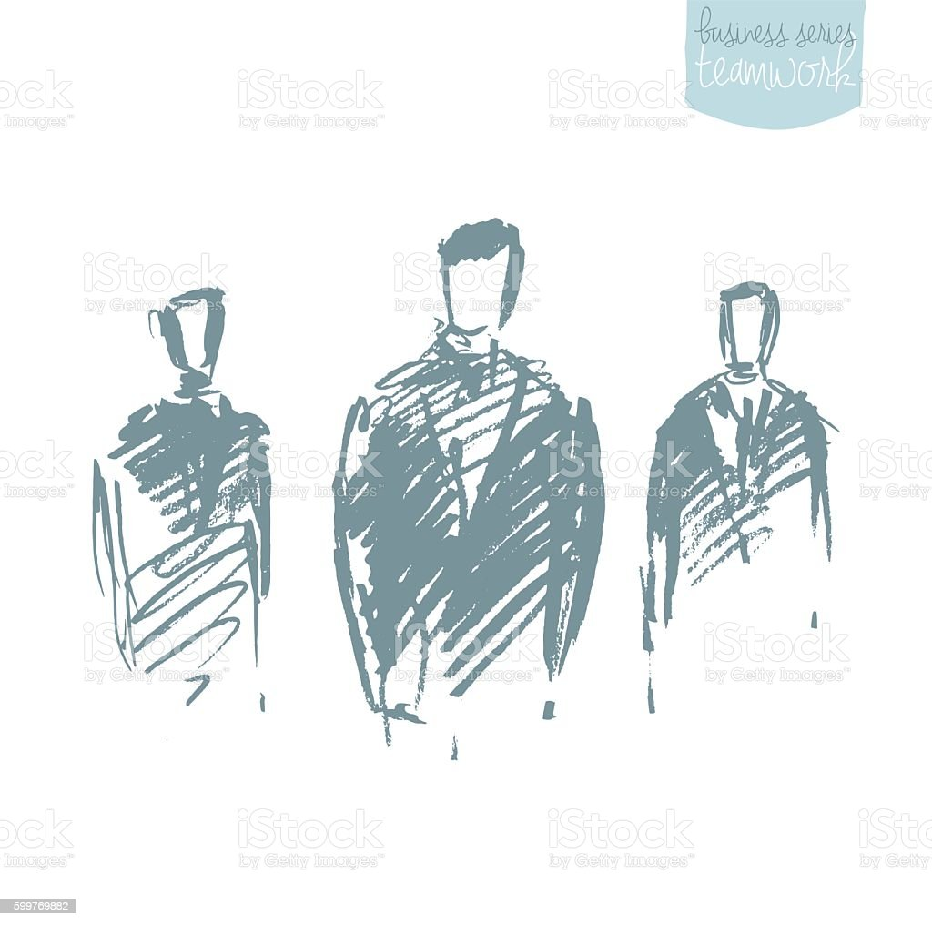 Standing businessman concept vector sketch. vector art illustration