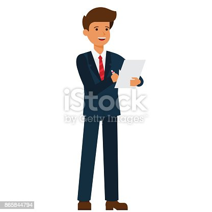 659493026 istock photo standing businessman writing contract cartoon flat vector illustration concept on isolated white background 865844794