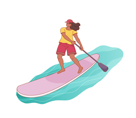 Standing cartoon cheerful woman is paddling with paddle board on the water.
