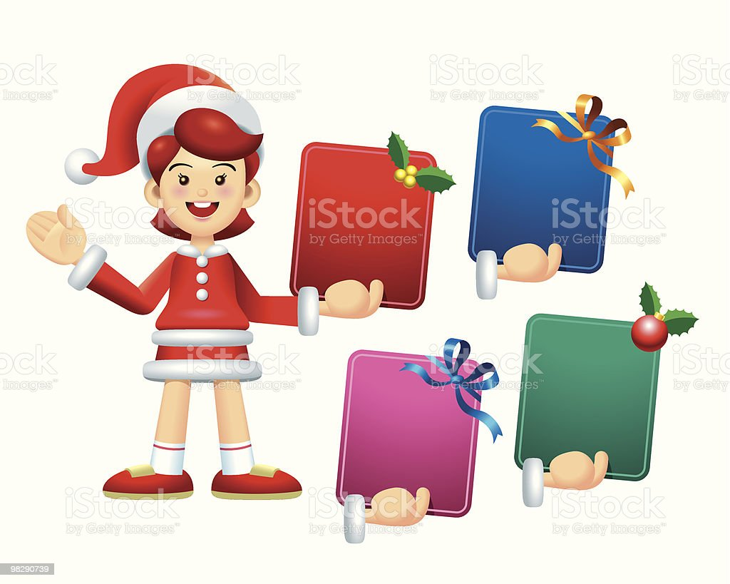 Standing Christmas Message Board Girl royalty-free standing christmas message board girl stock vector art & more images of blue