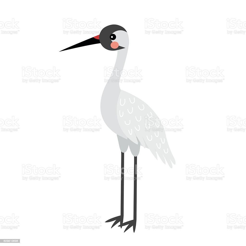 standing crane bird animal cartoon character vector illustration