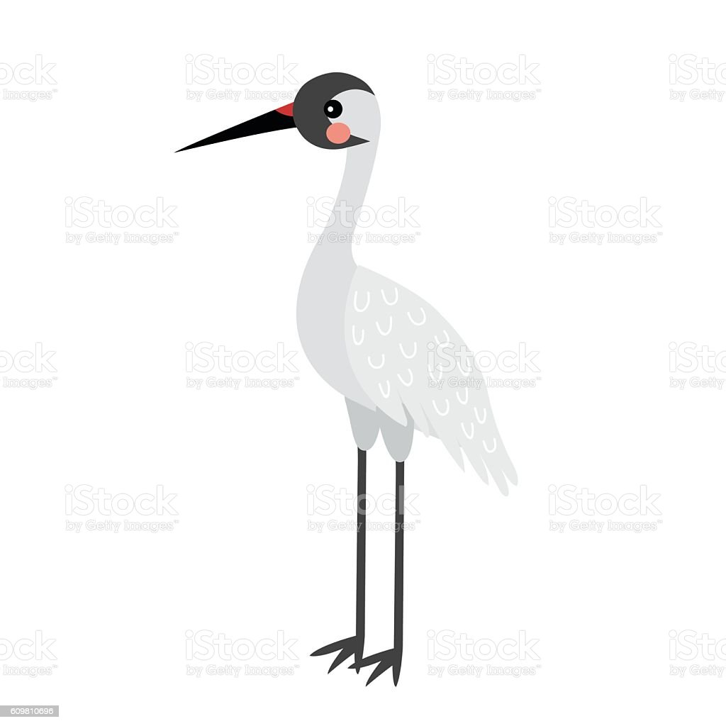 Standing Crane bird animal cartoon character vector illustration. vector art illustration