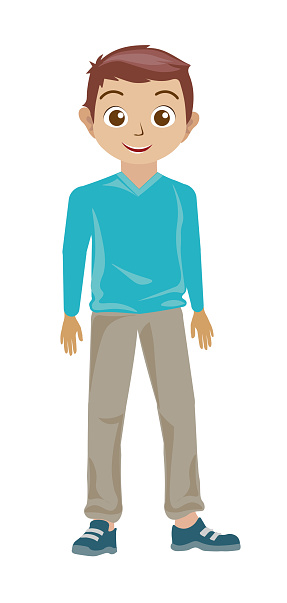 Standing cute boy with a smile in blue shirt looking at camera his eyes wide open. Cartoon style child avatar flat vector character design illustration isolated on white background.