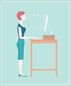 Retro style ergonomics diagram showing the correct posture to work standing. Diagram shows a woman typing at a computer on a standing desk. This is an editable EPS 10 vector illustration. Download includes a high resolution JPEG.