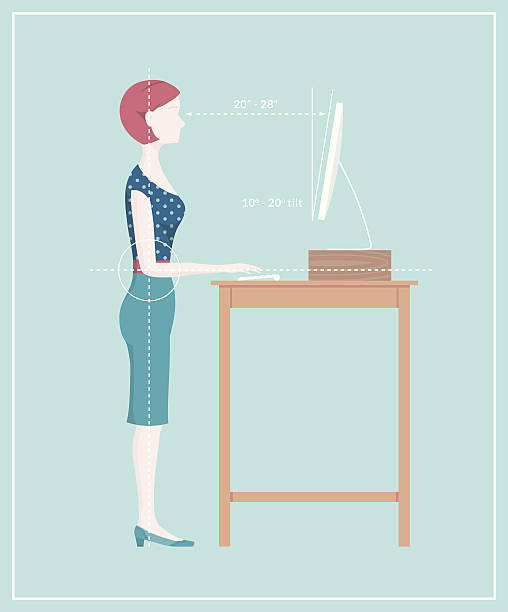 Standing Desk Posture Retro style ergonomics diagram showing the correct posture to work standing. Diagram shows a woman typing at a computer on a standing desk. This is an editable EPS 10 vector illustration. Download includes a high resolution JPEG. good posture stock illustrations