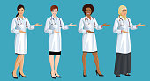 Women doctors standing half turn and pointing by hand. Asian, European, African American and Arab female doctor. Set of isolated vector illustrations
