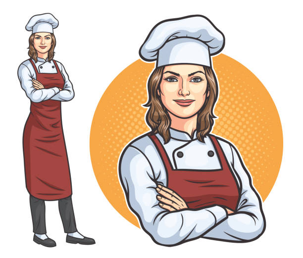 standing female chef - woman cooking stock illustrations