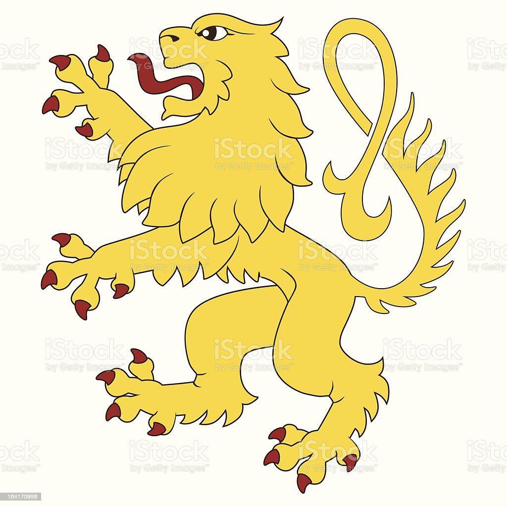 Standing heraldic lion royalty-free stock vector art