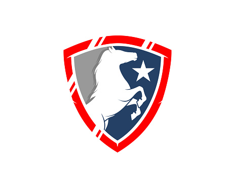 Standing horse inside the shield protection logo